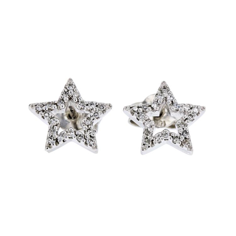 Exquisite Modern Ladies 14K White Gold Star-Shaped Diamond Earrings - Brand New