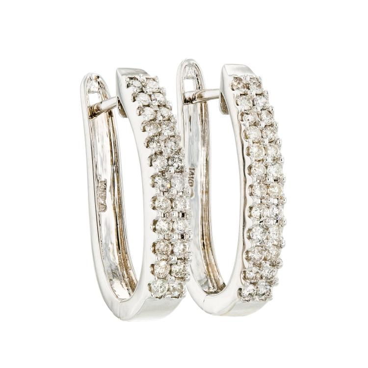 Exquisite Modern Ladies 14K White Gold Diamond Huggie Hoops Earrings - 1.38CTW - Brand New
