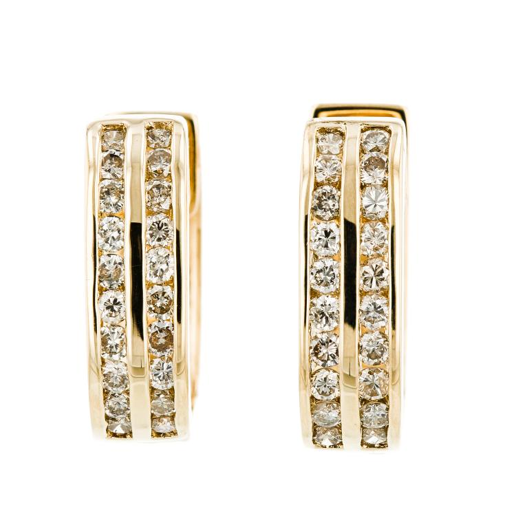 Modern Ladies 18K Yellow Gold Lite Brown Diamond Huggie Hoops Earrings - 1.22CTW