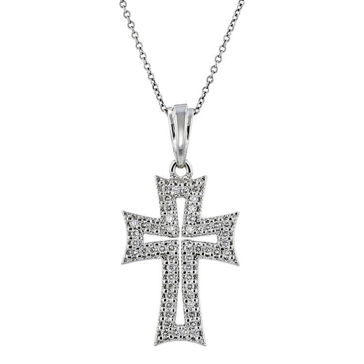 Beautiful Modern 14K White Gold Diamond Necklace & Cross Pendant Set - Brand New