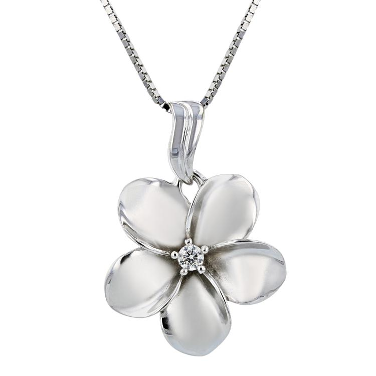 Charming Modern Ladies 14K White Gold Diamond Necklace & Floral Pendant Set NEW