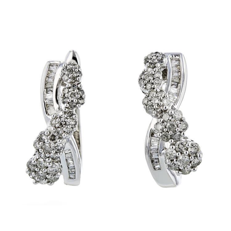 Exquisite Modern Ladies 10K White Gold Diamond Earrings - 1.24CTW - Brand New