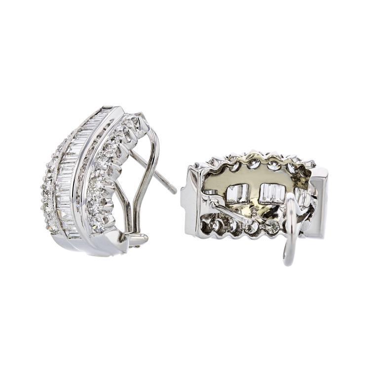 Exquisite Modern Ladies 18K White Gold Diamond Earrings - 3.82CTW - Brand New