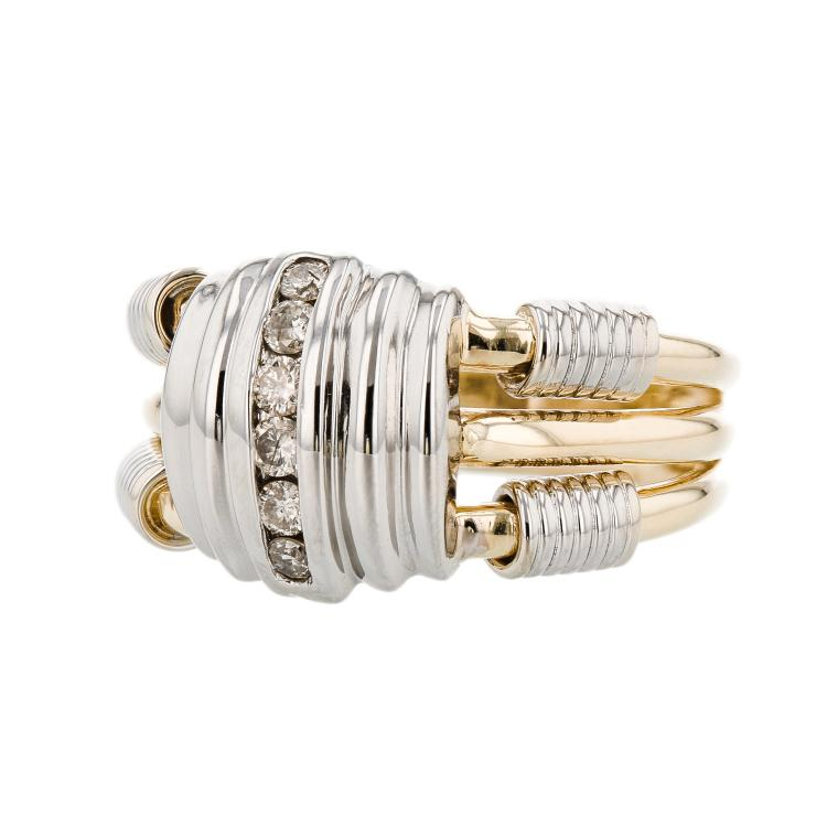 Modern 14K Two-Tone Yellow & White Gold Diamond Unique Design Ladies Ring - New