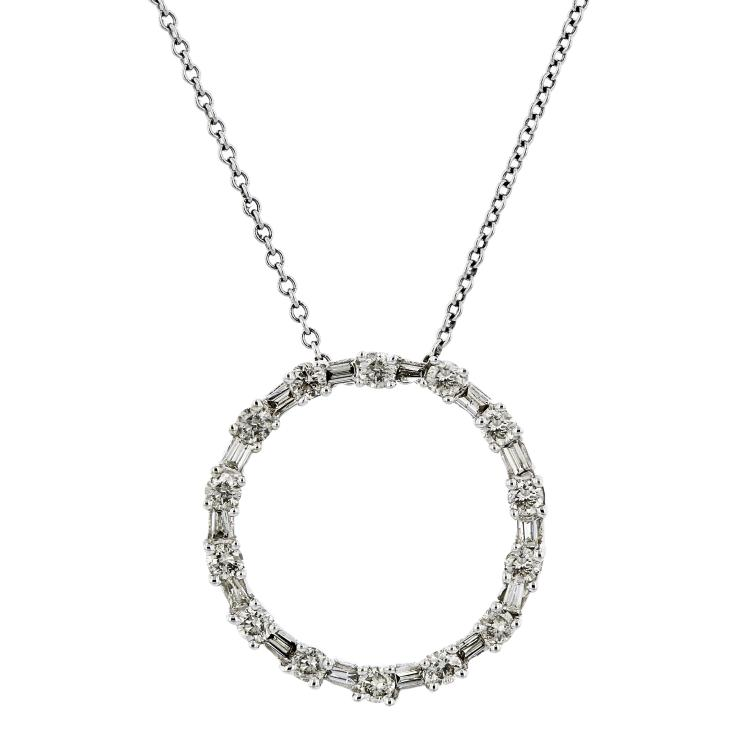 Modern Ladies 14K White Gold Diamond Chain Necklace & Circle Pendant Set - New