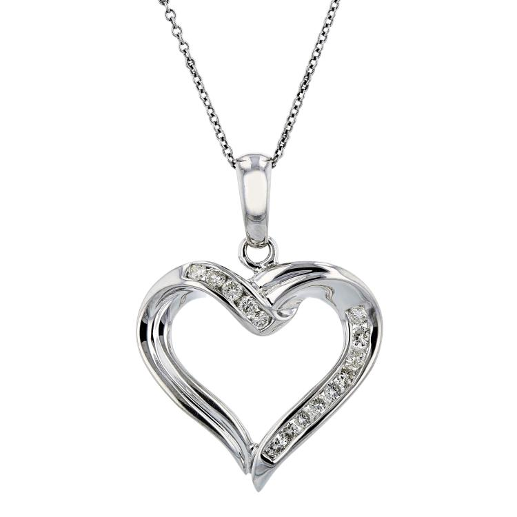 Exquisite Modern Ladies 14K White Gold Diamond Necklace & Heart-Shaped Pendant
