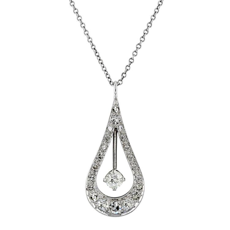 Modern Ladies 18K White Gold Diamond Necklace & Floral Teardrop Pendant Set NEW
