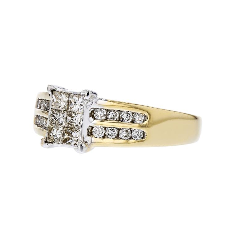 Stunning Modern 14K Yellow & White Gold Sparkling Diamond Ladies Ring - New