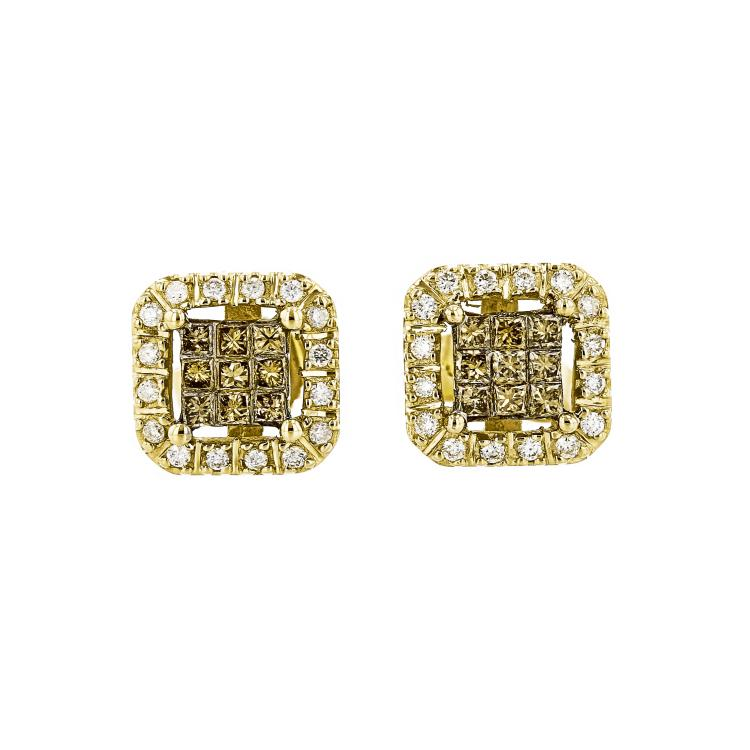 Stunning Modern Ladies 10K Yellow Gold Diamond Stud Earrings - Brand New