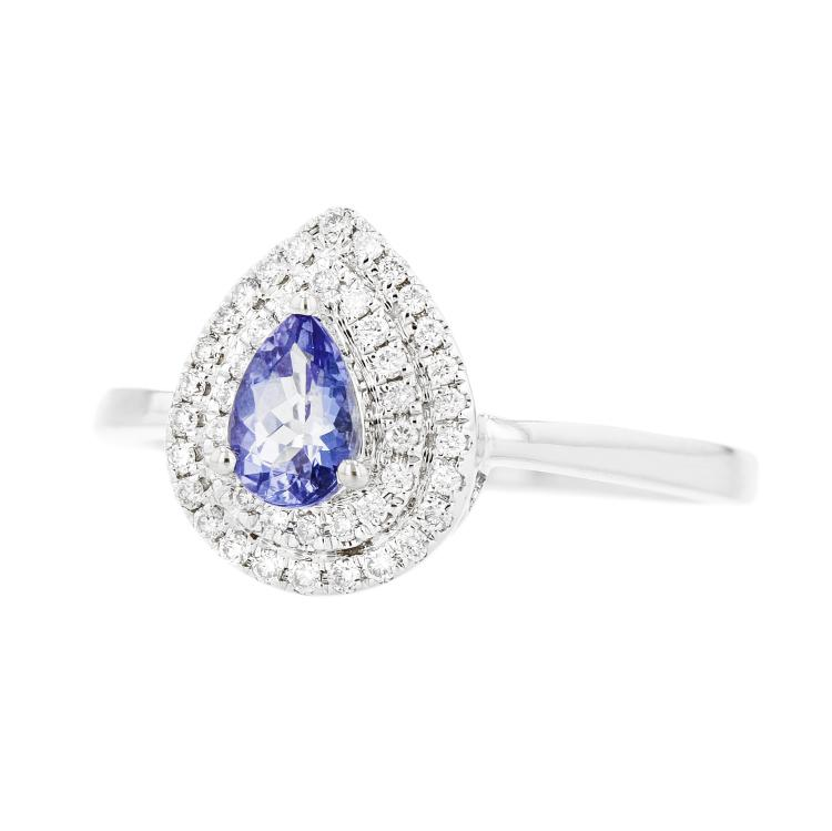 Charming Modern 14K White Gold Tanzanite & Diamond Double Halo Ladies Ring - New