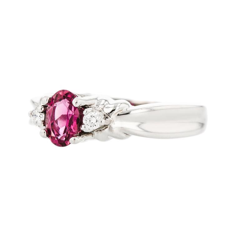 Stylish Modern Ladies 14K White Gold Diamond & Tourmaline Ring - Brand New