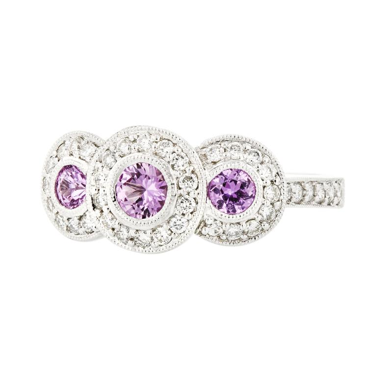Exquisite Modern Ladies 14K White Gold Pink Sapphire Diamond Halo Ring - New