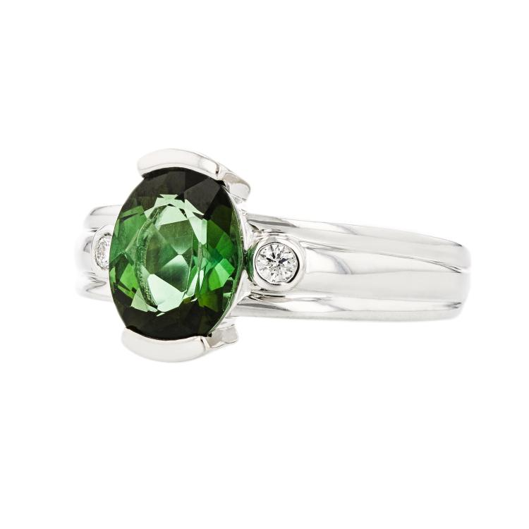 Stylish Modern Ladies 14K White Gold Diamond & Dark Green Tourmaline Ring - New