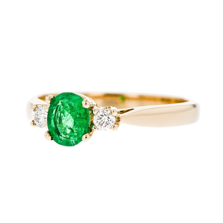 Exquisite Modern Ladies 14K Yellow Gold Diamond & Green Emerald Ring - Brand New