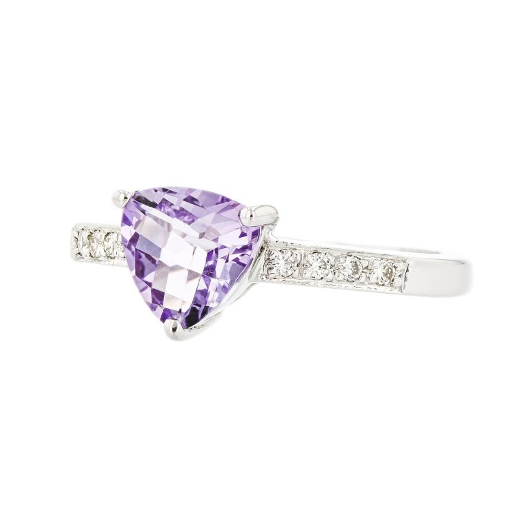 Stunning Modern Ladies 14K White Gold Diamond & Amethyst Ring - Brand New