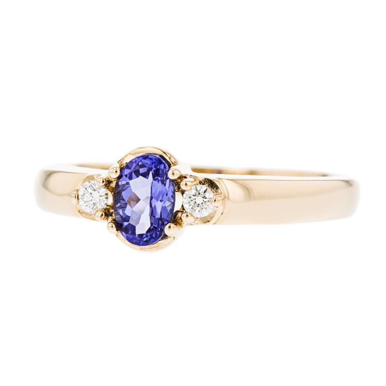 Stylish Modern Ladies 14K Yellow Gold Diamond & Tanzanite Ring - Brand New