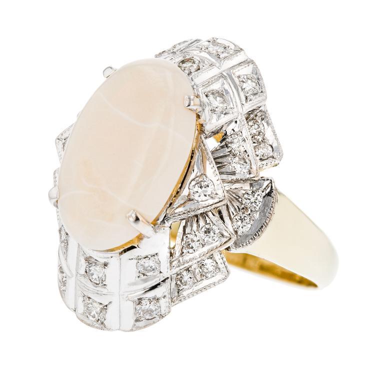 Stunning Modern 14K Yellow Gold Diamond & Opal Ladies Statement Ring - Brand New