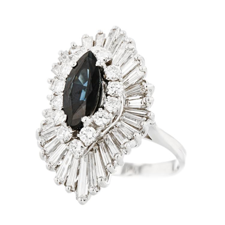 Gorgeous Modern 14K White Gold Diamond & Blue Sapphire Ladies Statement Ring