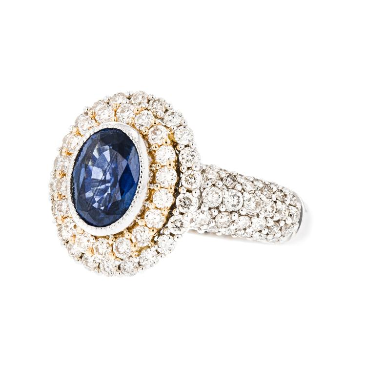 Gorgeous Modern 18K White & Yellow Gold Diamond & Sapphire Ladies Ring - New