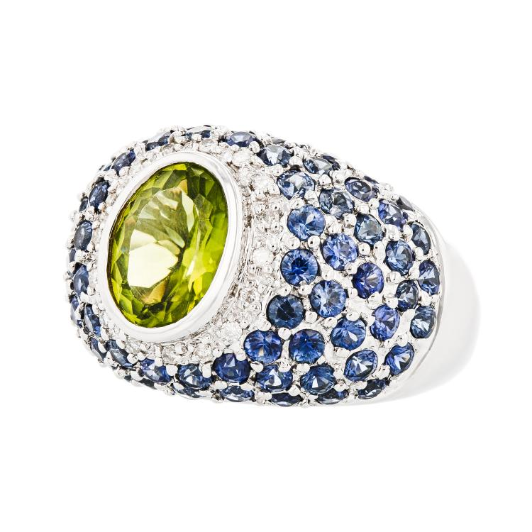 Modern Ladies 18K White Gold Diamond, Blue Sapphire & Green Peridot Ring - New