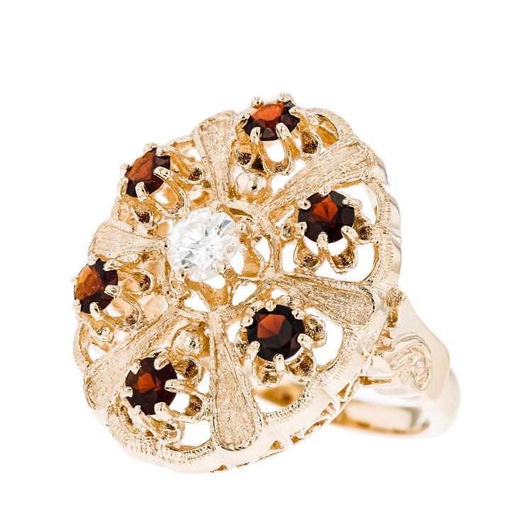 Stunning Modern 14K Yellow Gold Diamond & Red Garnet Ladies Statement Ring - New