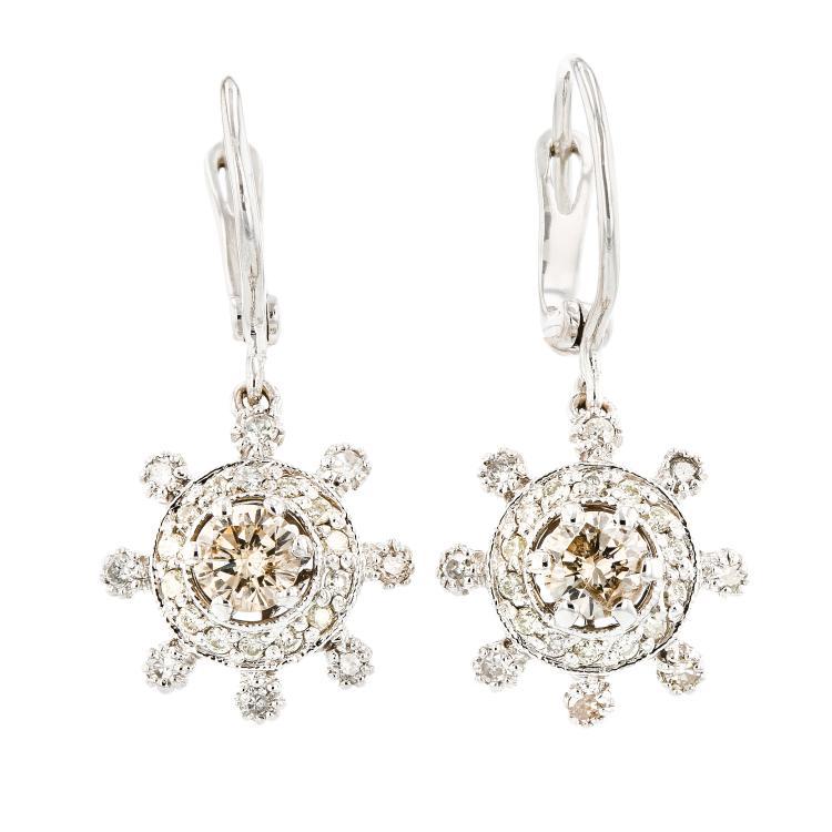 Beautiful Modern Ladies 14K White Gold Lite Brown Diamond Earrings - Brand New