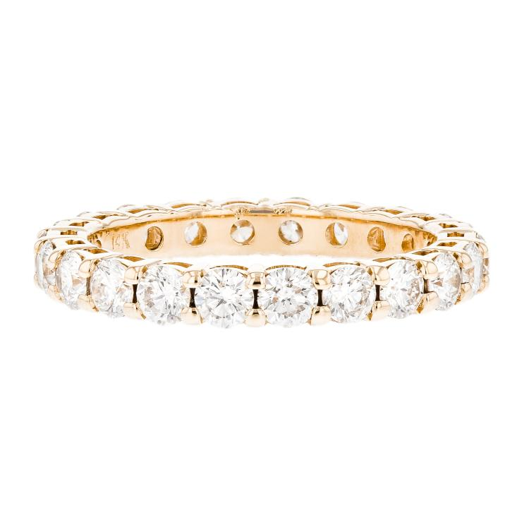 Elegant Modern Ladies 14K Yellow Gold Diamond Eternity Ring Band - 1.68CTW - New