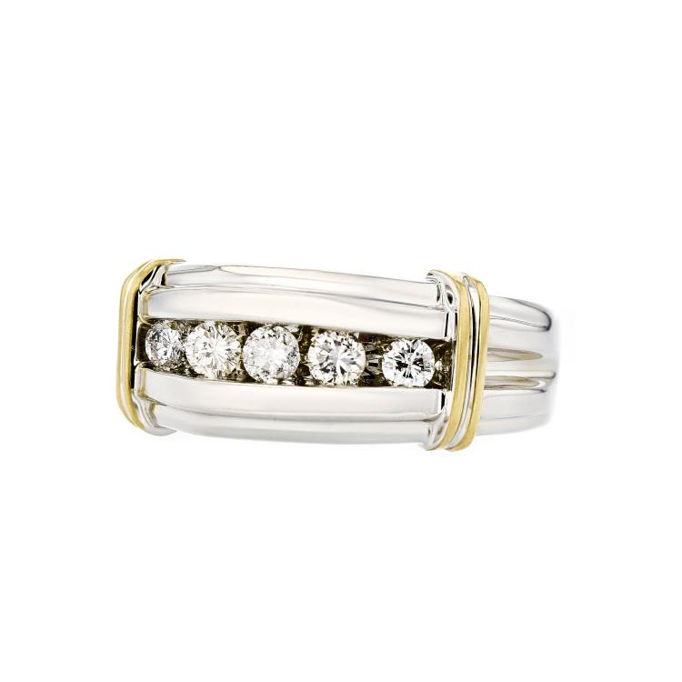Stunning Modern 14K White & Yellow Gold Mens/Womens/Unisex Diamond Ring - New
