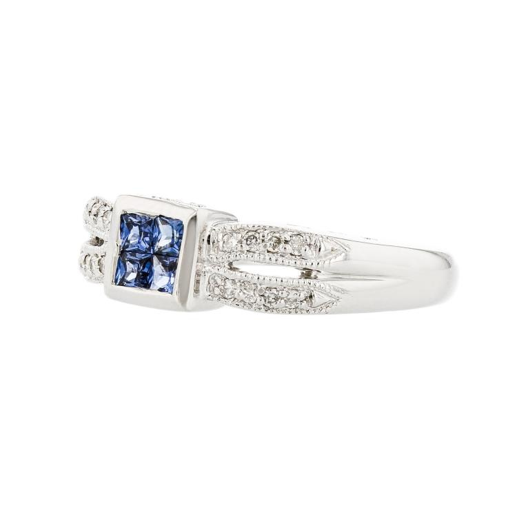 Charming Modern Ladies 14K White Gold Light Blue Sapphire & Diamond Ring - New