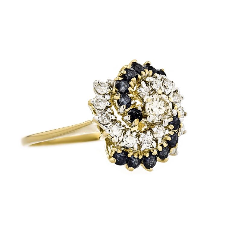 Gorgeous Modern Ladies 14K Yellow Gold Diamond & Dark Blue Sapphire Ring - New