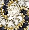 Gorgeous Modern Ladies 14K Yellow Gold Diamond & Dark Blue Sapphire Ring - New