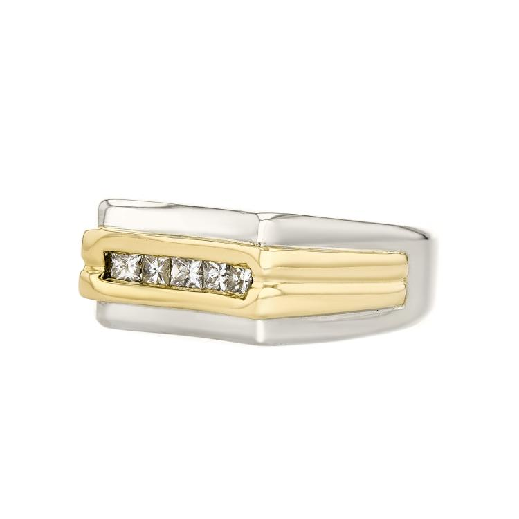 Stylish Modern 14K White & Yellow Gold Mens/Womens/Unisex Diamond Ring - New
