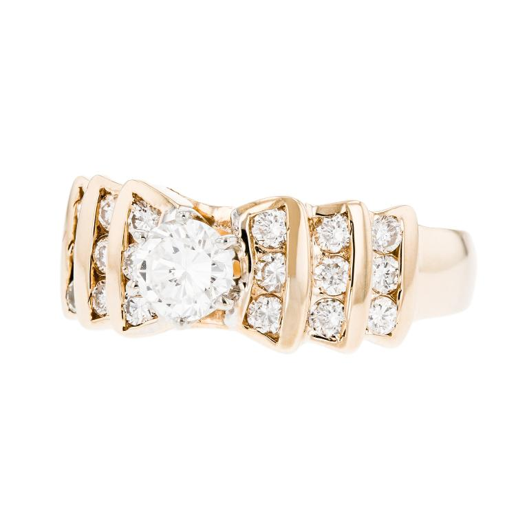 Exquisite Modern Ladies 14K White & Yellow Gold Round Diamond Ring - Brand New