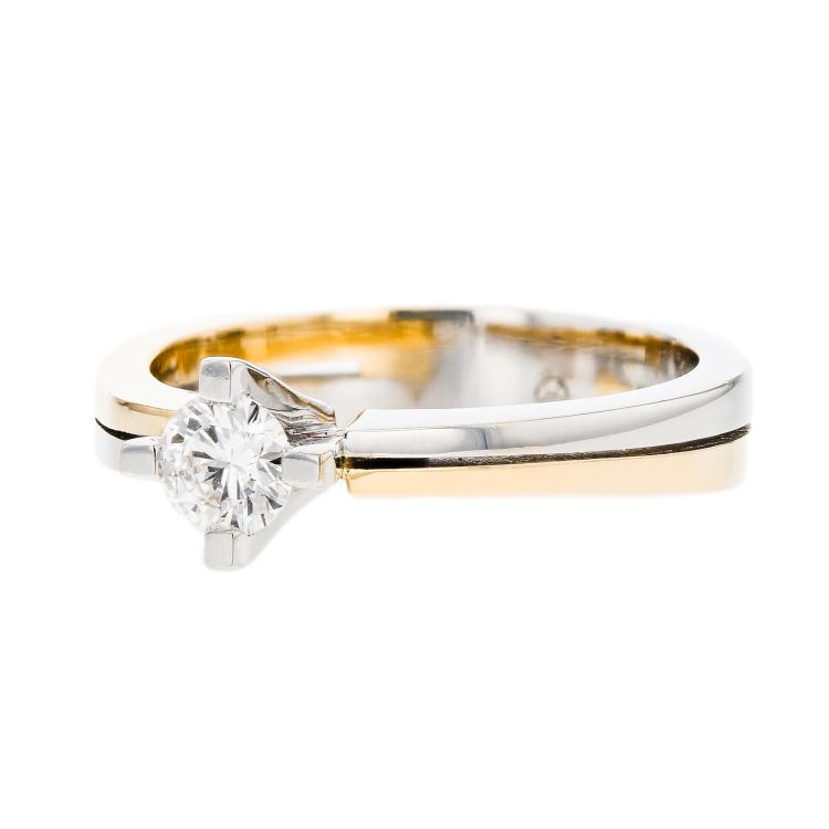 Charming Modern Ladies 18K White & Yellow Gold Diamond Engagement Ring - New