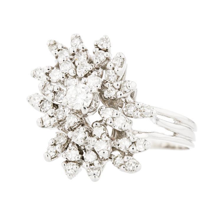 Charming Modern 14K White Gold Ladies Diamond Cocktail Ring - Brand New