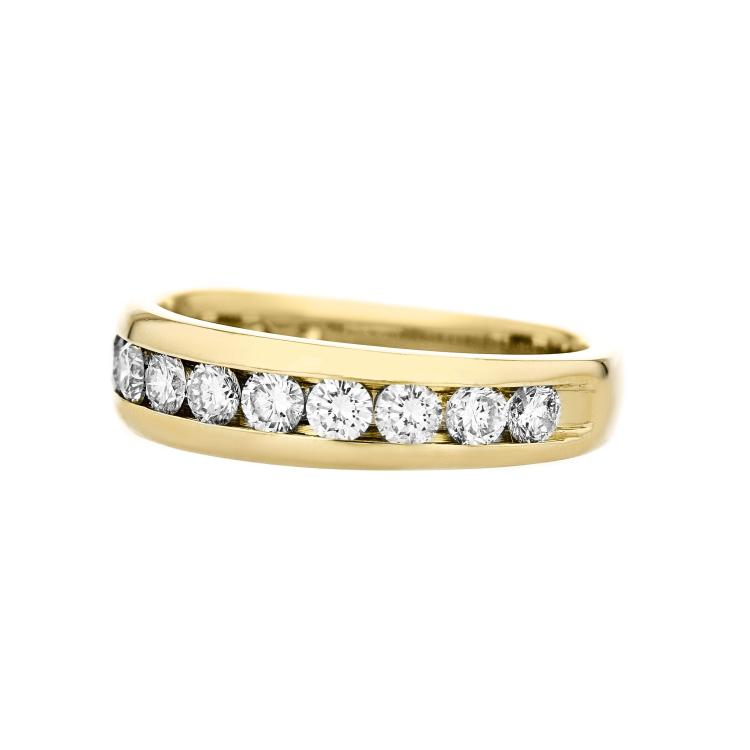 Elegant Modern Ladies 14K Yellow Gold Diamond Ladies Ring Band - 1.12CTW - New
