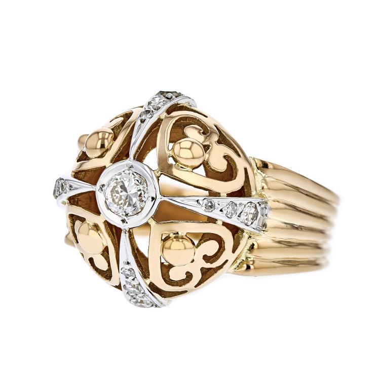 Gorgeous Modern 18K Rose & White Gold Diamond Ladies Statement Ring - New