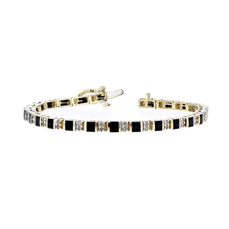 Exquisite Modern 14K Yellow Gold Ladies Diamond & Black Onyx Bracelet - New