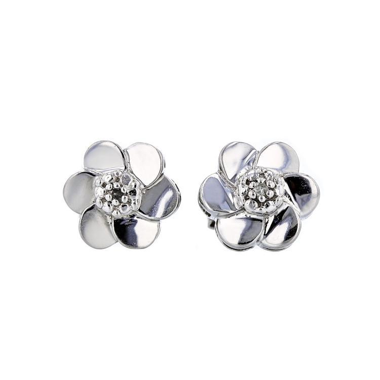 Charming Modern Ladies 14K White Gold Floral Design Diamond Earrings - New