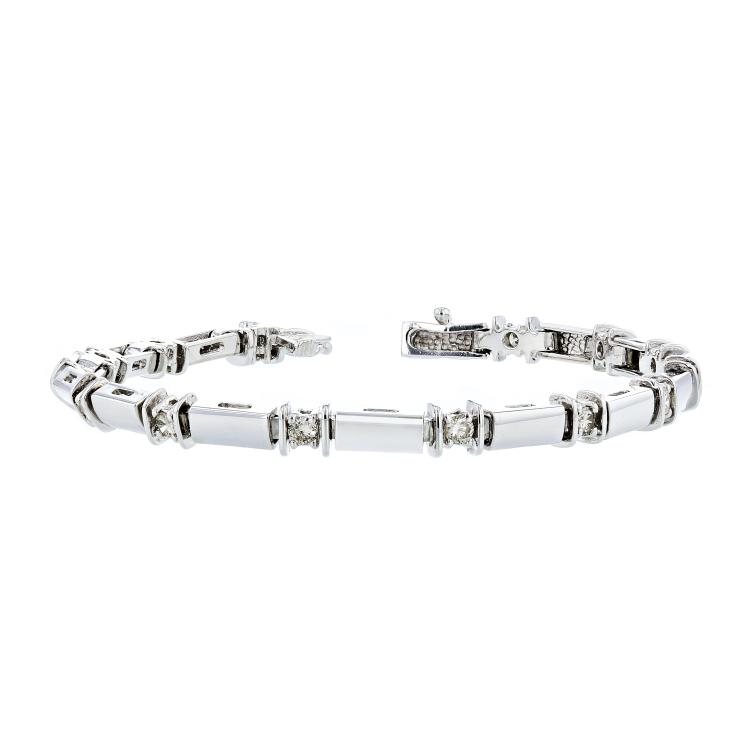 Charming Modern Ladies 14K White Gold Diamond Bracelet - 1.22CTW - New