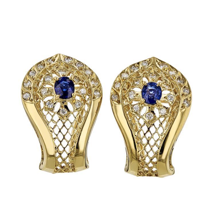 Stylish Modern Ladies 18K Yellow Gold Unique Design Diamond & Sapphire Earrings