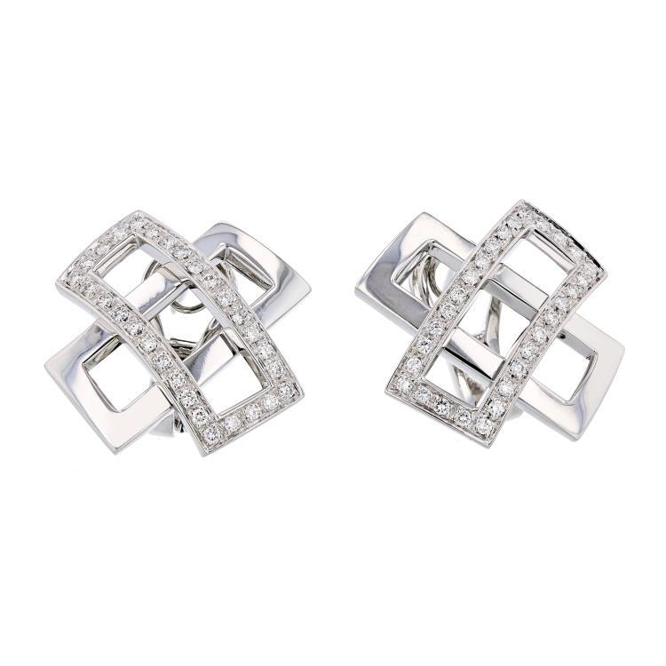 Exquisite Modern Ladies Platinum Diamond Earrings - 1.05CTW - Brand New
