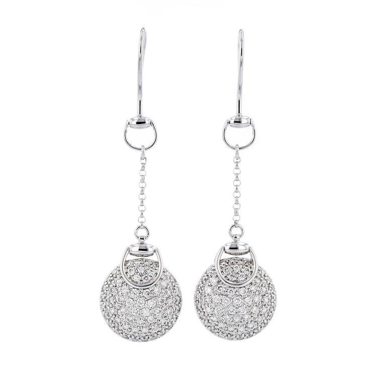 Gorgeous Modern Ladies 18K White Gold Diamond Earrings - 1.67CTW - Brand New