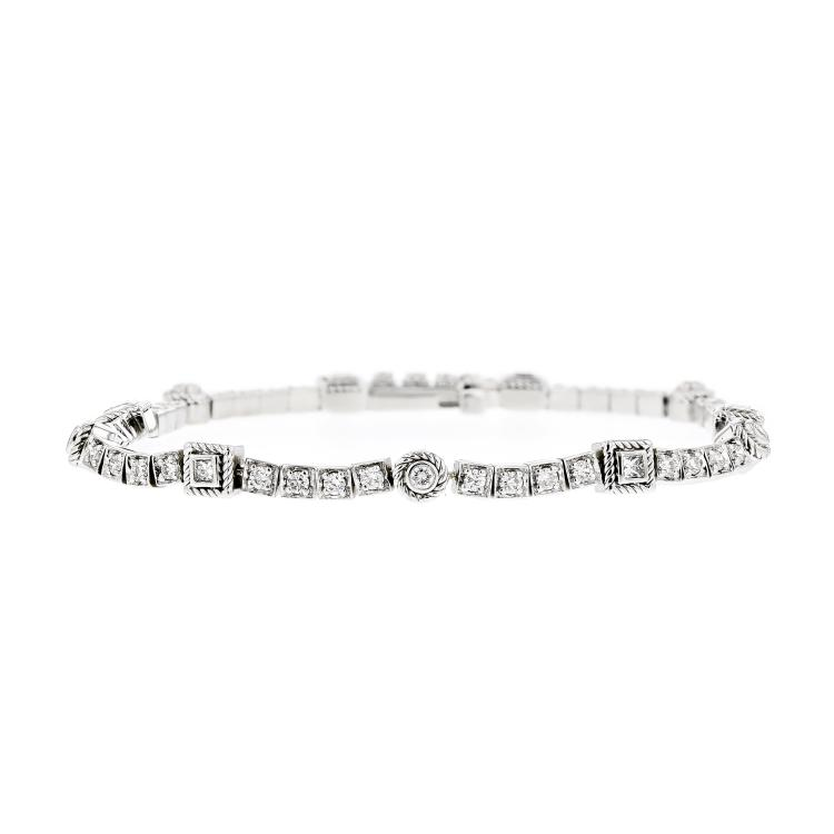 Stunning Modern Ladies 14K White Gold Sparkling Diamond Bracelet - Brand New