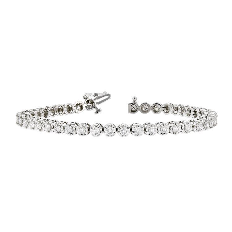 Stunning Modern 14K White Gold Ladies Diamond Tennis Bracelet - 3.28CTW - New
