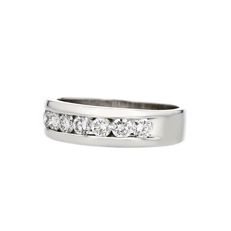 Stylish Modern 14K White Gold Diamond Mens/Womens/Unisex Ring - Brand New