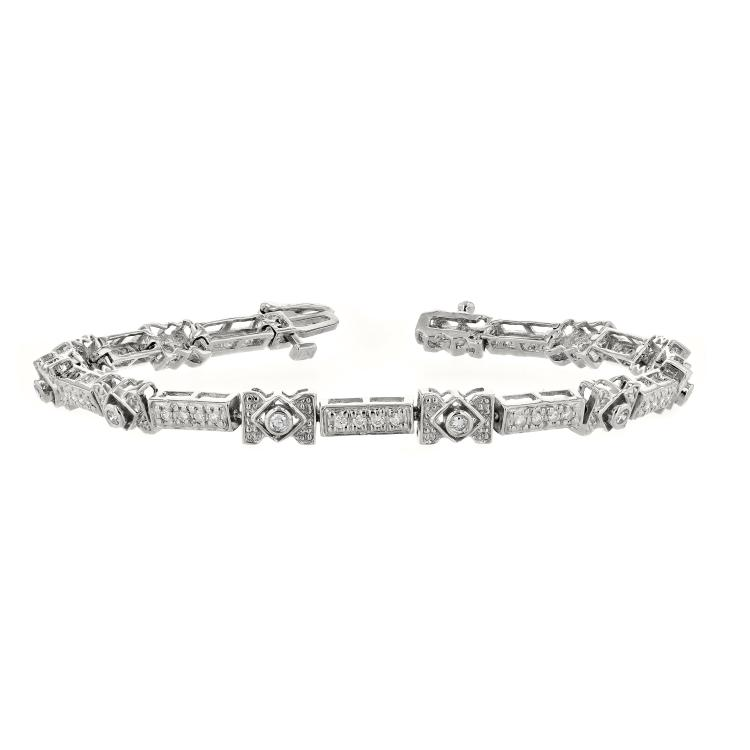 Elegant Modern Ladies 14K White Gold Unique Design Diamond Bracelet - Brand New