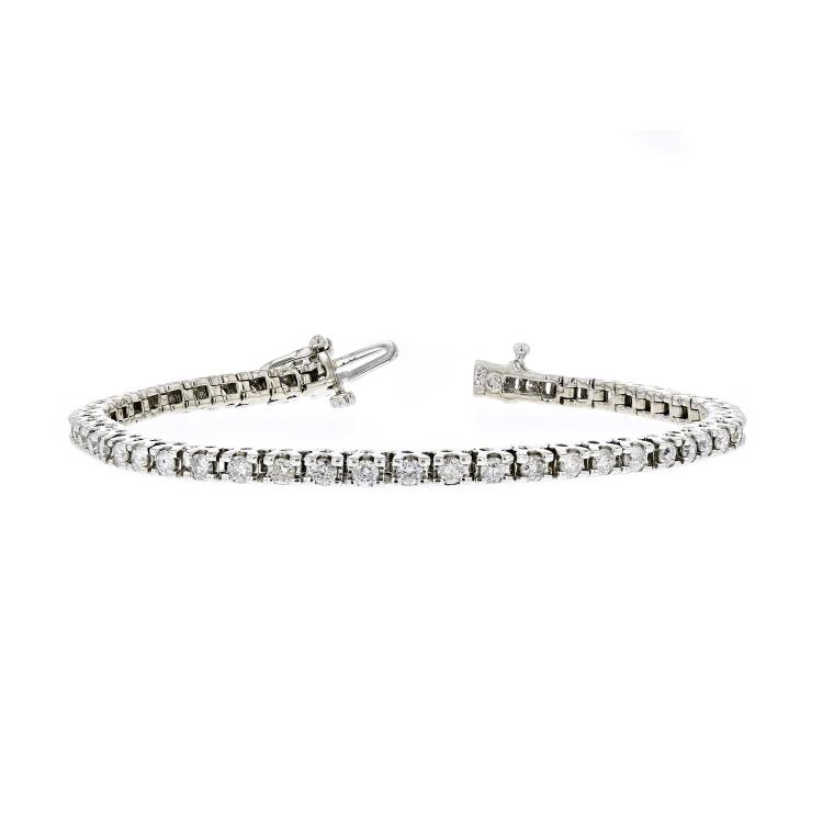 Stunning Modern 14K White Gold Ladies Diamond Tennis Bracelet - 2.78CTW - New
