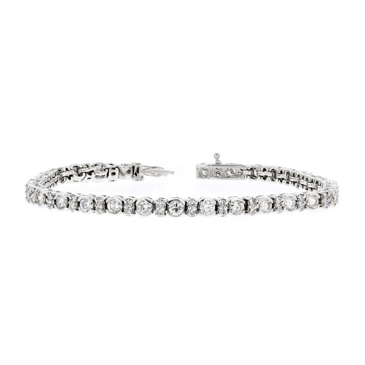 Elegant Modern 14K White Gold Ladies Diamond Eternity Bracelet - 3.68CTW - New