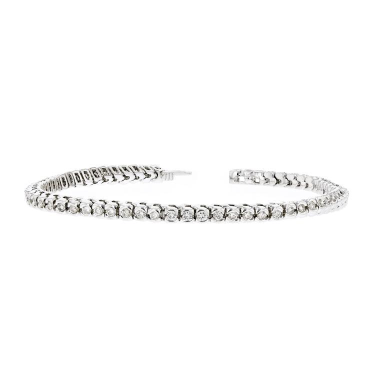 Elegant Modern 14K White Gold Ladies Diamond Eternity Bracelet - 2.31CTW - New